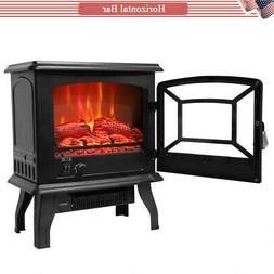 "1400W 17"" Electric Fireplace Stove Fake Wood Space Heater Lo"