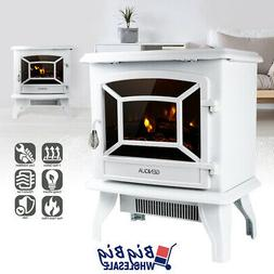 """1400W 17"""" Freestanding White Electric Fireplace Heater Stove"""