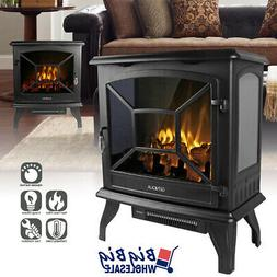 "1400W 20"" Freestanding Electric Fireplace Heater Stove LED F"