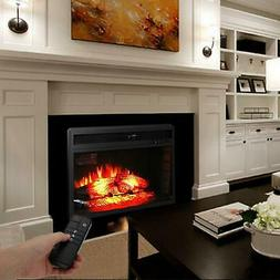 1500W Electric Fireplace Embedded Wall Mount Heater Flame wi