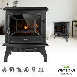 "17"" Electric Fireplace Heater Freestanding Wood Fire LED Fla"