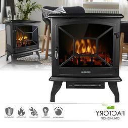"20"" Electric Fireplace Heater Freestanding Log Wood Fire LED"