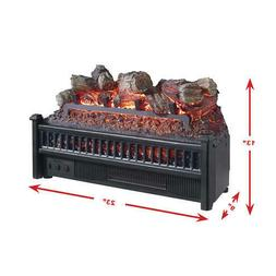 """23"""" Black Resin Fireplace Realistic Flame LED Electric Logs"""
