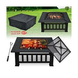 32'' Outdoor Garden Fire Pit BBQ Grill Brazier Square Stove