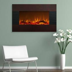 """35"""" Brown Electric Wall Mount Hang Fireplace Heater Home Liv"""