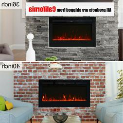 """36""""/40"""" Recessed Wall Mounted Electric Fireplace Decor Heate"""