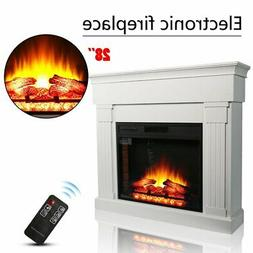 """28"""" 1350W Electric Fireplace Heater Remote Control TV Stand"""