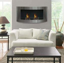 """48"""" Curved Wall Mount Stainless Steel Modern Ethanol Firepla"""