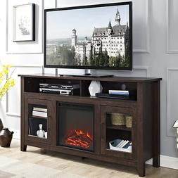 """58"""" Wood Highboy Fireplace Media TV Stand - Traditional Brow"""