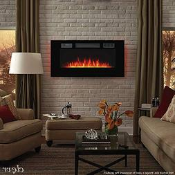 """Clevr 750-1500W 39"""" Recessed Electric Wall Mount Fireplace H"""