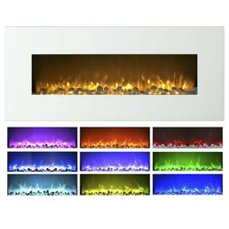Electric Fireplace Wall Mounted, Color Changing LED Flame an
