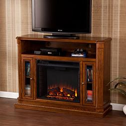 Sei - Atkinson Media Electric Fireplace - Brown Oak