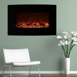 Black Curved Color Change Electric Fireplace Heater Wall 36