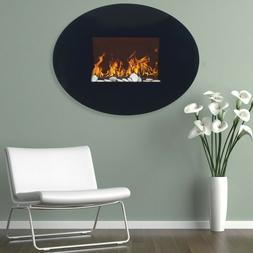 Northwest Black Oval Glass Electric Fireplace with Wall Moun