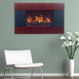 """Brown 35"""" Electric Wall Mount Hang Fireplace Heater Home Liv"""