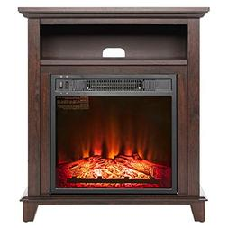 """AKDY 27"""" Electric Fireplace Heater Freestanding Brown Wooden"""