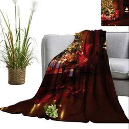 homehot Christmas Faux Fur Throw Blanket Xmas Scene Celebrat