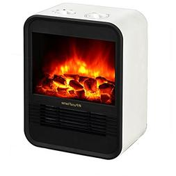 PuraFlame 1250W Clara White 9-Inch Mini Portable Electric He