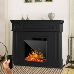 Electric Fireplace Heater LED Logs Wood Mantel Cabinet w/ Re
