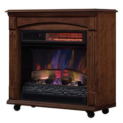 Electric Fireplace Heater TV Stand Wheels Wood Mantel Realis