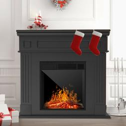 Electric Fireplace Heater w/ Wood Mantel Cabinet LED Logs Re