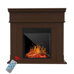 Electric Fireplace Heater Wood Mantel Cabinet LED Logs  w/ R