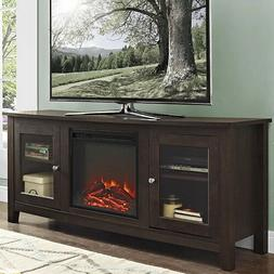 Electric Fireplace TV Stand Brown Media Wood Console Heater