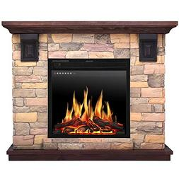 JAMFLY Electric Fireplace Wall Mantel in Faux Stone,Wood Hea