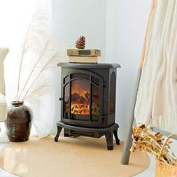 FLAME&SHADE Electric Fireplace Wood Stove - Realistic LED Lo