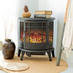 FLAME&SHADE Electric Wood Stove - Flame Effect Fireplace - P
