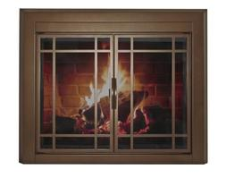 Enfield Prairie Cabinet Style Fireplace Screen and 9-Pane Sm