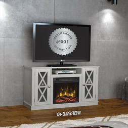 Fireplace TV Stand 55 White Media Console Entertainment Cent