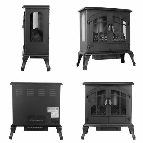 1500W Electric Fireplace Freestanding Stove Burning Flame