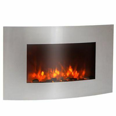 """35"""" Large 1500 watt stainless Electric Wall Mount Fireplace"""