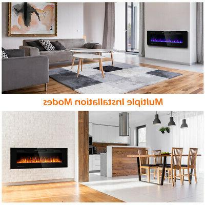 "50"" Electric Fireplace Ultra Thin Mounted Heater Multicolor"