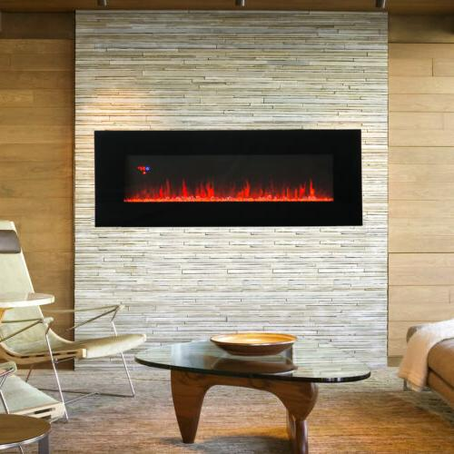 """50"""" Wall Mount Electric Fireplace Heater Multicolor 3D Cryst"""