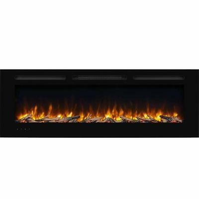 60 recessed electric fireplace log and crystal