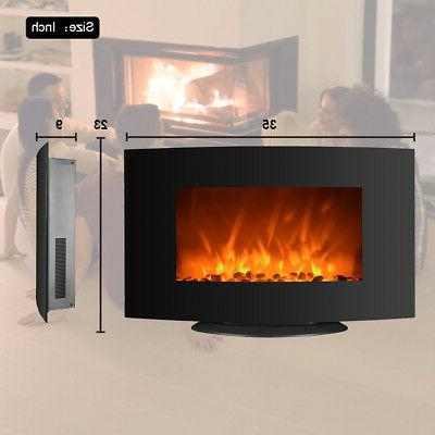 750W/1500W Electric Fireplace 2-in-1 Adjustable 35