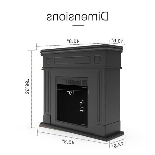 Electric Fireplace Logs Mantel Cabinet w/ Control Black