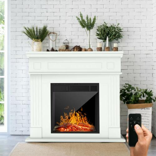 electric fireplace heater wood mantel cabinet led