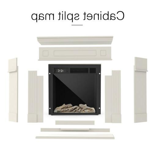 Electric Fireplace Wood Mantel Logs Remote Control White