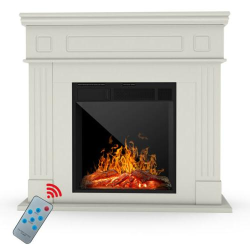 Electric Fireplace Mantel Cabinet w/ Remote