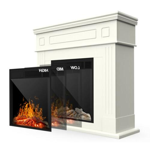 Electric Fireplace Wood Logs Remote White