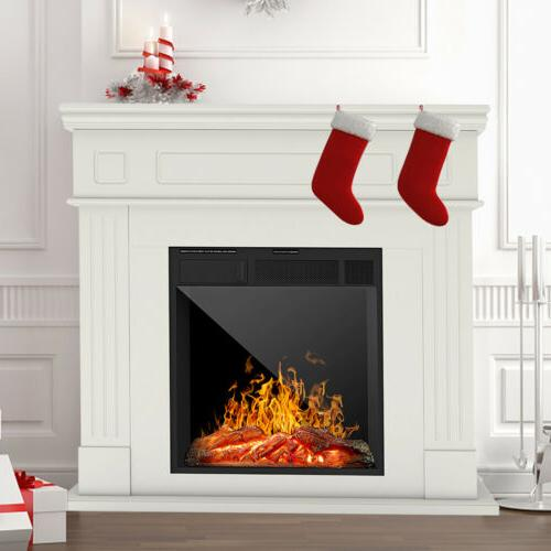 Electric Fireplace Heater Mantel Cabinet Logs w/