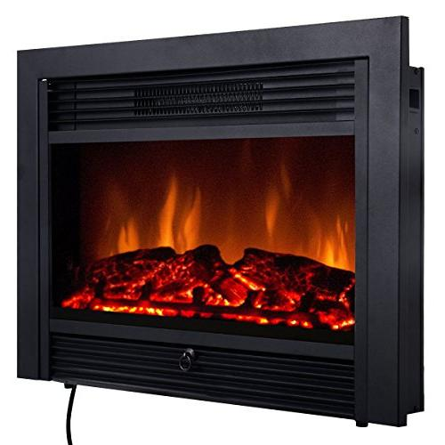 "Giantex 28.5"" Electric Fireplace Insert with Heater Glass Vi"