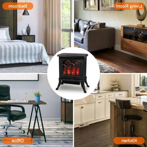 Electric Fireplace Stove Realistic Overheat Safety 1500W