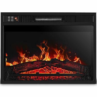 embedded fireplace electric insert heater glass view