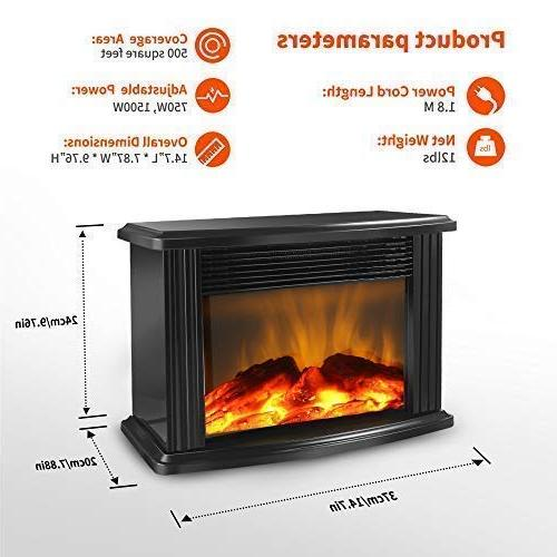 """DONYER 14"""" Mini Electric Fireplace Heater, 1500W, Black Frame,Room Heater"""