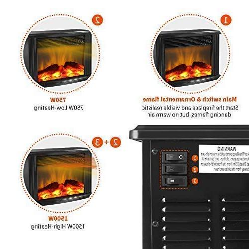 DONYER Mini Electric Fireplace Portable Heater, Black Frame,Room Heater