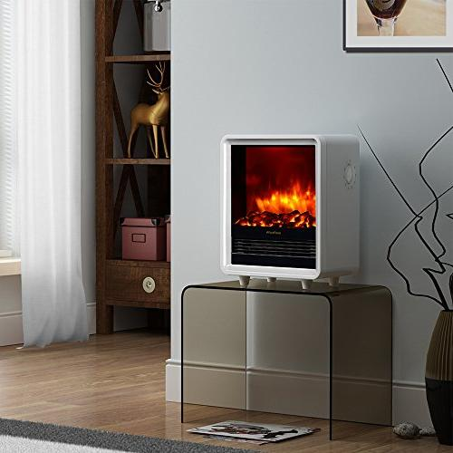 PuraFlame Electric Fireplace Heater, White